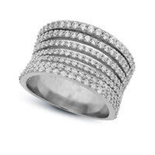 Crislu 7-Row Pave Silver Ring