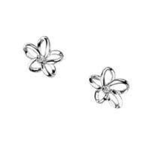 Hot Diamonds Plumeria Open Petal Flower Silver Stud Earrings