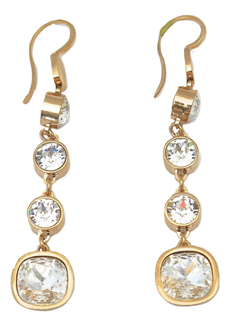 380100bdf REBECCA. Rose Gold Plated Drop Earrings with Clear Crystals