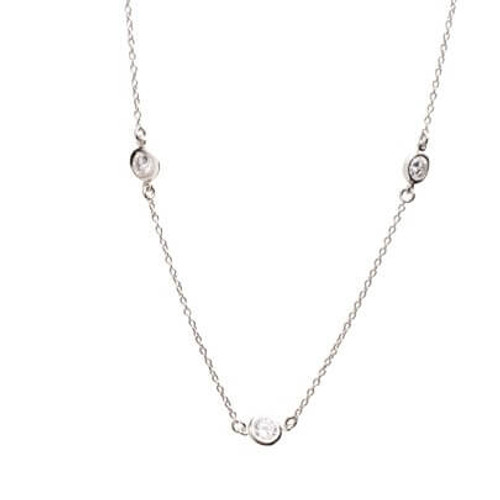 Miss Crislu DBY Round Stone Silver Necklace