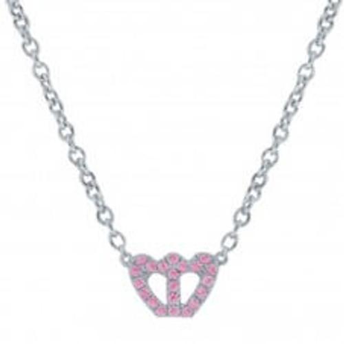 Miss Crislu Crown Pink CZ Necklace