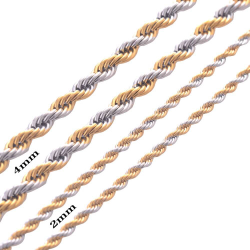 "Men's Stainless Steel and Gold Plated Twisted Rope Chain/Necklace (4mm-22"")"