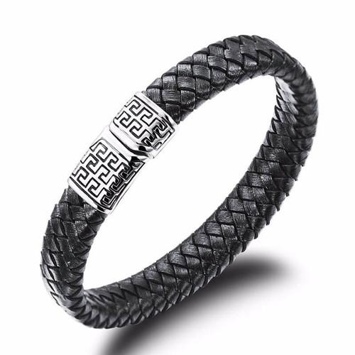 Men's Black Rope Bracelet with Stainless Steel Magnetic Buckle