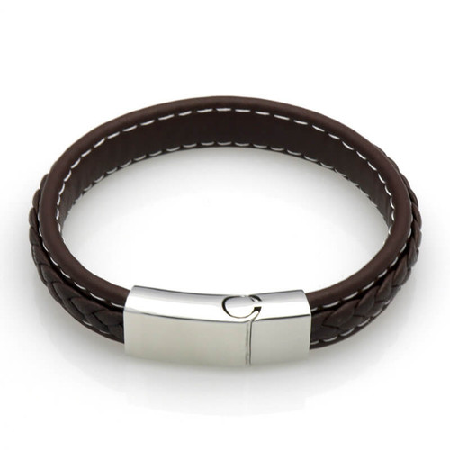 Men's Brown Leather Wrap Braided Bracelet
