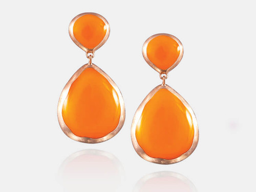 Adami & Martucci Orange Enamel Peardrop Earrings