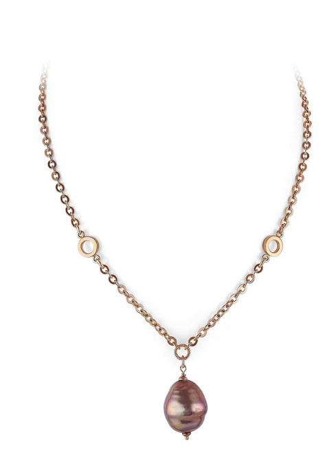 Aubergine Barrel Baroque Pearl and Rose Gold Plated  Pendant with Dual Circles