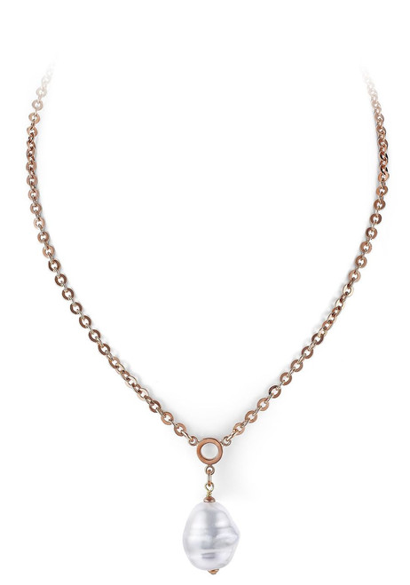 White Barrel Baroque Pearl and Rose Gold Plated  Pendant with Small Round Link