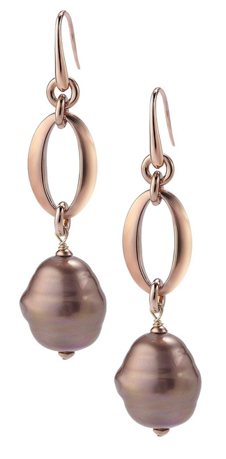 Aubergine Barrel Baroque Pearl and Rose Gold Plated  Hook Earrings with Oval Links