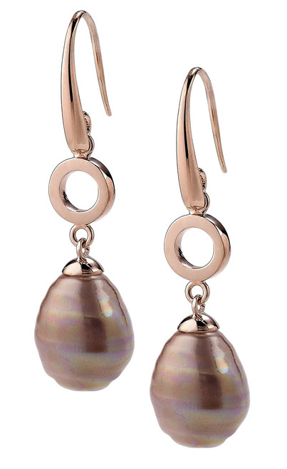 Aubergine Barrel  Small Pearl and Rose Gold Plated  Hook Earrings with Round Link