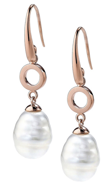 White Barrel  Small Pearl and Rose Gold Plated  Hook Earrings with Round Link