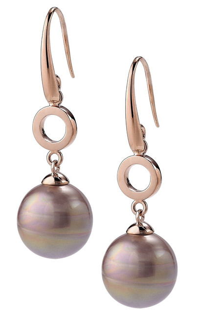 Aubergine Circular Small Pearl and Rose Gold Plated  Hook Earrings with Round Link
