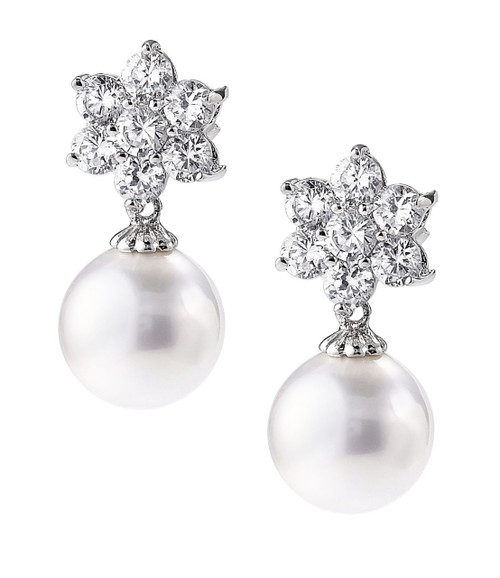 White Pearl Fashion Starburst Earrings With CZ