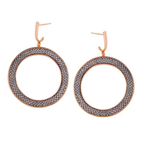 Adami & Martucci Silver Mesh Circle Earrings in Rose Gold