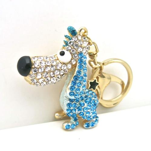 Cute Fashion Dog Keychain with Long Ears and Blue Rhinestones