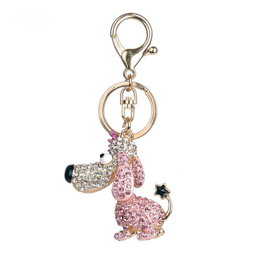 Cute Fashion Dog Keychain with Long Ears and Pink Rhinestones