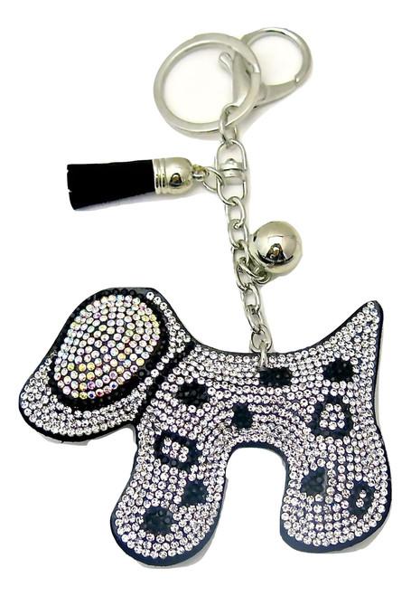Black Faux Leather Dog Keychain with Clear Rhinestones