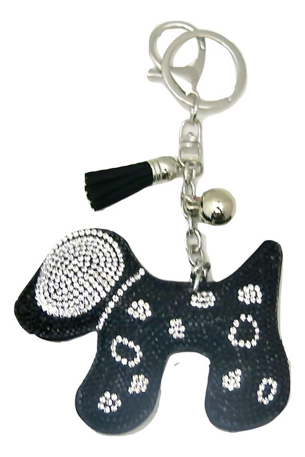 Black Faux Leather Dog Keychain with Black Rhinestones