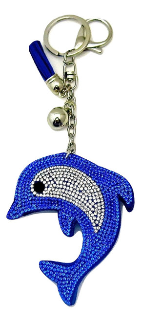 Blue Faux Leather Dolphin Keychain with Rhinestones