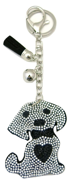 Black Leather Dog Keychain with Heart Rhinestones