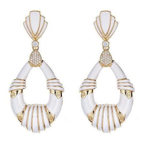 Cleopatra Earrings, White/Gold