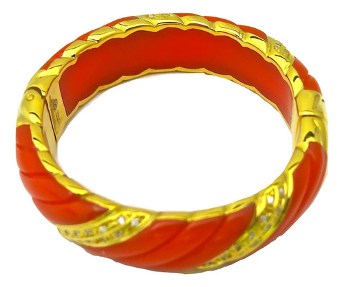 Wave Bangle, Coral Resin