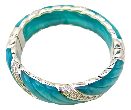 Wave Bangle, Turquoise Mother of Pearl