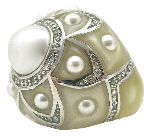 Pearl Flower Ring, White MOP