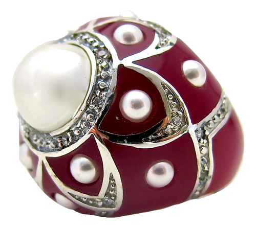 Pearl Flower Ring, Ruby