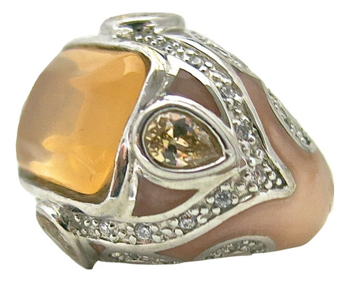 Rectangular Peach MOP Ring with Chalcedony