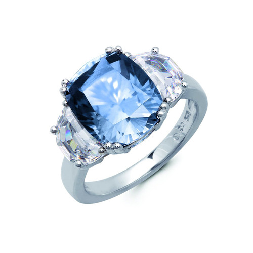 Crislu Blue Quartz Cushion Cut Cocktail Ring