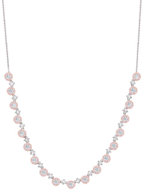 Crislu Fiore Pink Halo Half Tennis Necklace