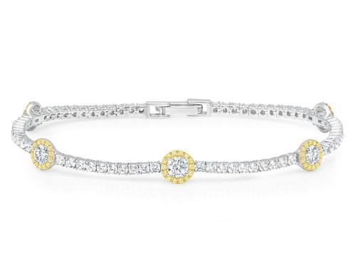 Crislu Fiore Canary Halo Tennis Bracelet