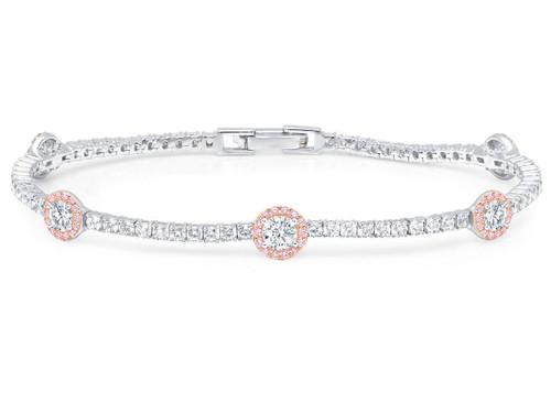 Crislu Fiore Pink Halo Tennis Bracelet
