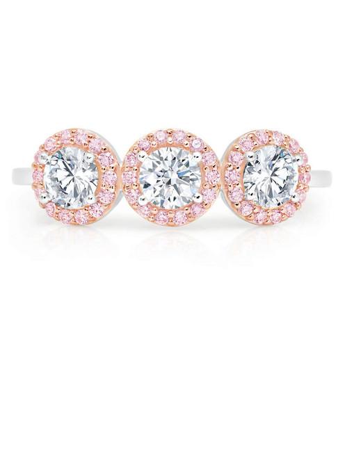 Crislu Fiore Pink Multi Halo Ring
