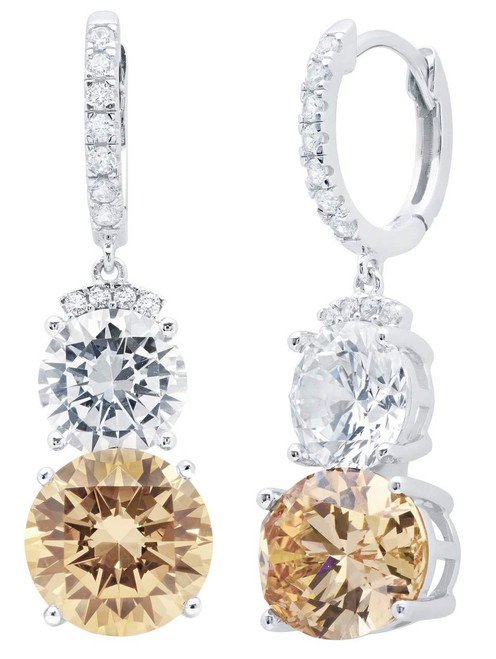 Crislu Champagne Quartz Two-Stone Drop Earrings