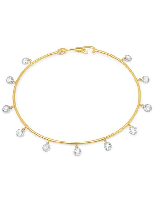 Crislu Bezel Set Charm Bangle in Yellow Gold
