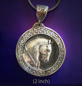 Horse necklace, Lusitano horse pendant in gold overlay on pewter