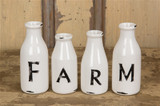 Milk Bottles / Farm /Set of 4