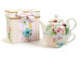 Tea For One / Pink Rose Vintage Tea pot and Cup