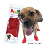PawZ Dog Boots 12 pack  / Small Red