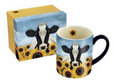 Surrounded by Sunflowers / Cow Gift Boxed Mug