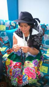 Peruvian Trading Co. Hat & Cut off Mittens  Blue / Green