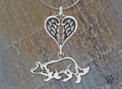 Border Collie Heart Pendant /Sterling Silver