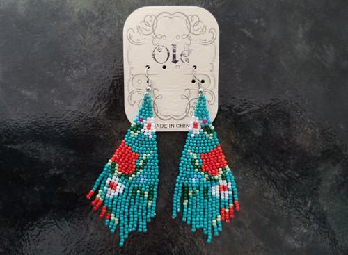 Ole Beaded Earrings/Teal