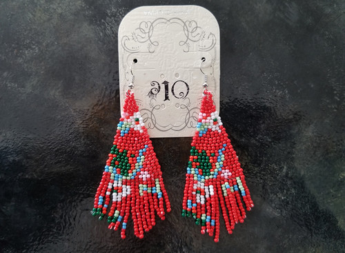 Ole Beaded Earrings/ Red
