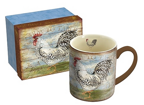 Farm To Table Susan Winget/Rooster Gift Boxed Mug