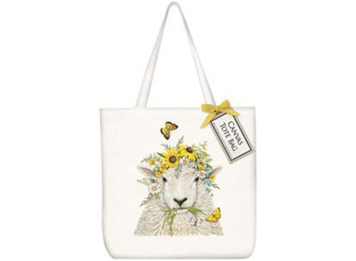 Sheep Flower Crown Square Tote Bag