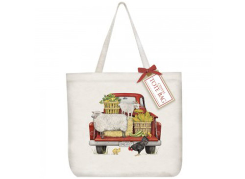 Red Truck Farmhouse Tote Bag