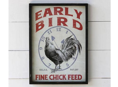 Framed Feedsack Early Bird