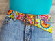 Wool Embroidered Belt, Handmade / Blue Pink